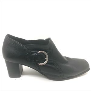 Nickels Black heeled ankle booties silver buckle